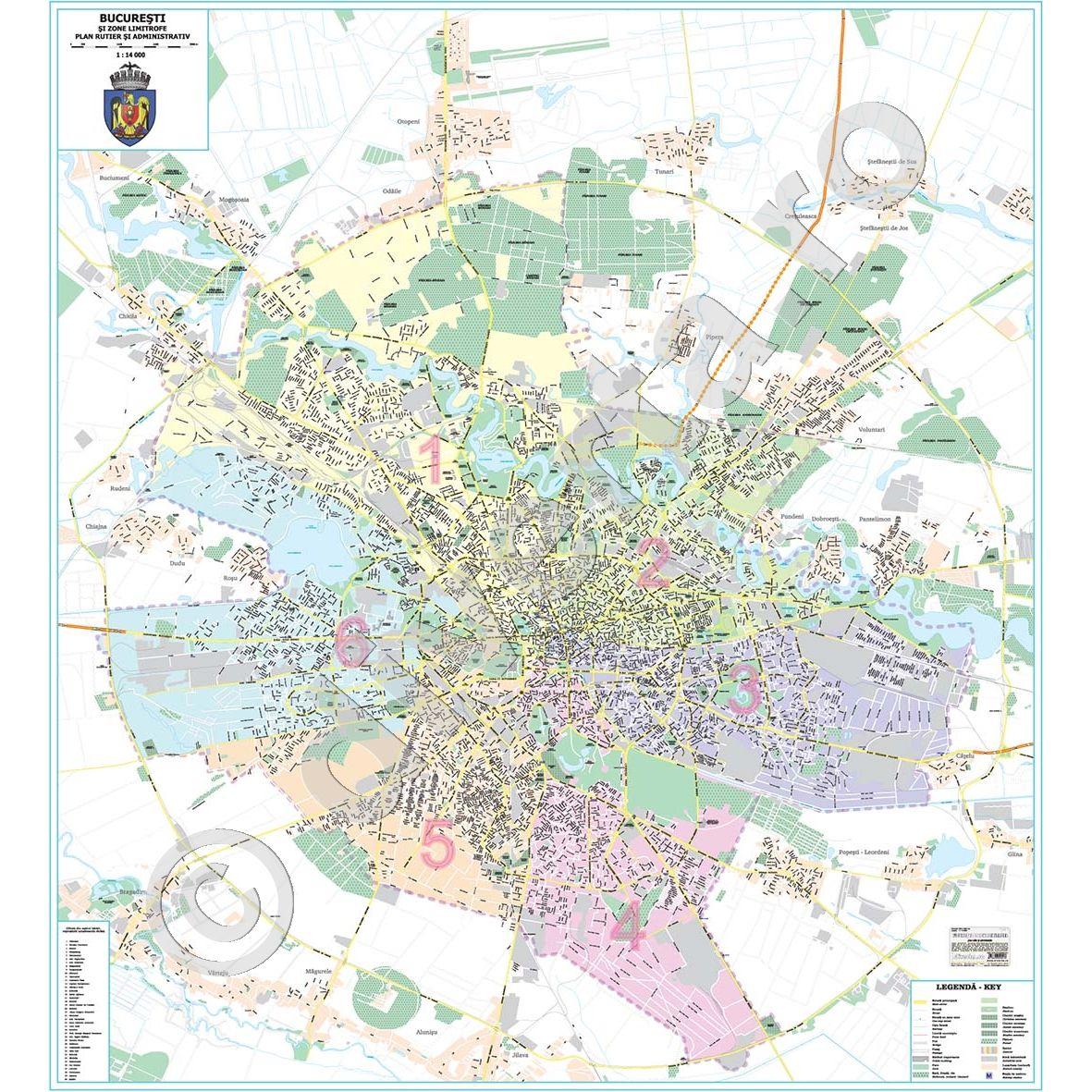harta sectoare bucuresti BUCURESTI SI ZONE LIMITROFE,harta (plan) de perete rutiera  harta sectoare bucuresti