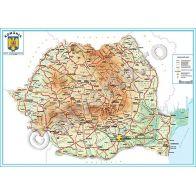 ROMANIA, harta de perete fizica-geografica, format 35 x 50 cm, scara 1:1250000, editie 2014, laminata - plastifiata (incapsulata), baghete