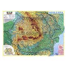 ROMANIA, harta de perete fizica-geografica si administrativa (cu detalii rutiere) (vecini + Republica Moldova completa), scara 1:625000, format 100 x 140 cm, editie 2013, laminata - plastifiata (incapsulata), baghete