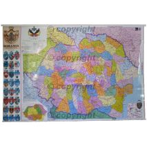 ROMANIA INTERBELICA (1938), harta de perete istorica, administrativa (stemele municipiilor, vecini), scara 1:1000000, format 70 x 100 cm, editie 2009, laminata - plastifiata (incapsulata), baghete