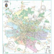 BUCURESTI SI ZONE LIMITROFE, harta (plan) de perete rutiera si administrativa (sectoare), scara 1:10000, format 230 x 250 cm, editie 2016, laminata - plastifiata (incapsulata), baghete, harta detaliata a Bucurestiului
