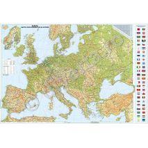 EUROPA, harta de perete fizica-geografica si rutiera, format 130 x 200 cm, scara 1:2600000, editie 2014, laminata - plastifiata (incapsulata), baghete, harta scolara, harta didactica