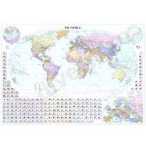 (RESIGILAT) LUMEA (PLANIGLOB), harta de perete politica si rutiera, scara 1:38000000, format 90 x 125 cm, editie 2005, laminata - plastifiata (incapsulata), baghete