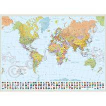 LUMEA, harta de perete politica, scara 1:30000000, format 100 x 140 cm, editie 2007, laminata - plastifiata (incapsulata), baghete, scolara, didactica