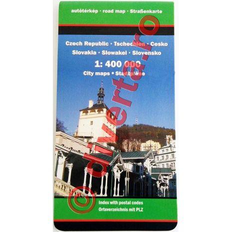 CEHIA / SLOVACIA, harta pliata rutiera, administrativa si turistica, scara 1:400000, format 94x125 cm, editie 2013