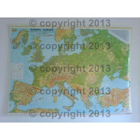 EUROPA, harta de perete rutiera, fizica cu coduri postale, scara 1:3500000, format 100 x 140 cm, editie 2013, laminata - plastifiata (incapsulata), baghete