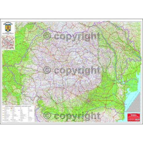 ROMANIA, harta de perete rutiera, administrativa si turistica (vecini + Republica Moldova completa), scara 1:657000, format 90 x 120 cm, editie 2015, laminata - plastifiata (incapsulata), baghete