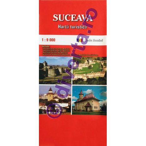 SUCEAVA, harta pliata turistica si rutiera, scara 1:9000, format 50x70 cm, editie 2013
