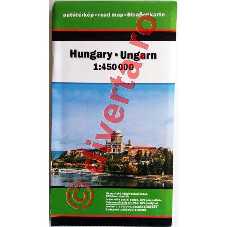 UNGARIA, harta pliata rutiera, administrativa si turistica, scara 1:450000, format 86x120 cm, editie 2013