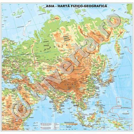 ASIA, harta de perete fizica-geografica si politica, format 100 x 100 cm, scara 1:12100000, editie 2014, laminata - plastifiata (incapsulata), baghete, harta scolara, harta didactica