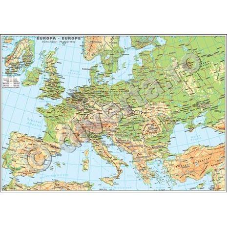 EUROPA, harta de perete fizica-geografica, format 85 x 120 cm, editie 2015, laminata - plastifiata (incapsulata), baghete,  harta scolara, harta didactica