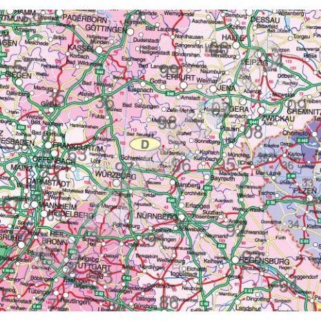 EUROPA, harta de perete politica si rutiera cu coduri postale, format 210 x 300 cm, editie 2013, laminata - plastifiata (incapsulata), baghete, detaliata - selectie