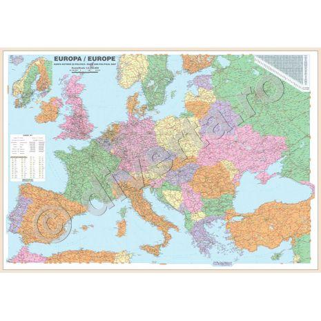 EUROPA, harta de perete politica si rutiera, scara 1:3500000, format 100 x 140 cm, laminata - plastifiata (incapsulata), baghete