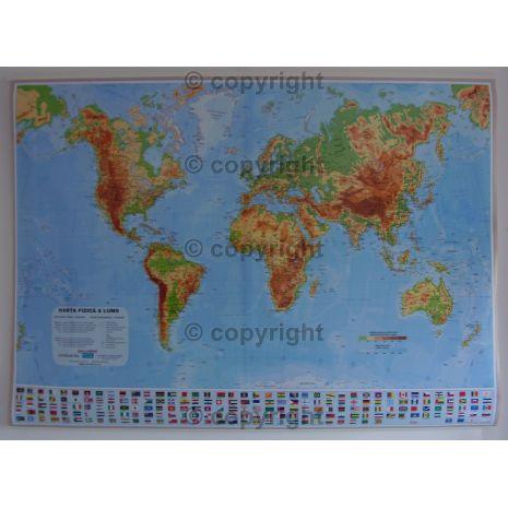 LUMEA, harta de perete fizica, scara 1:21300000, format 100 x 140 cm, editie 2014, laminata - plastifiata (incapsulata), baghete