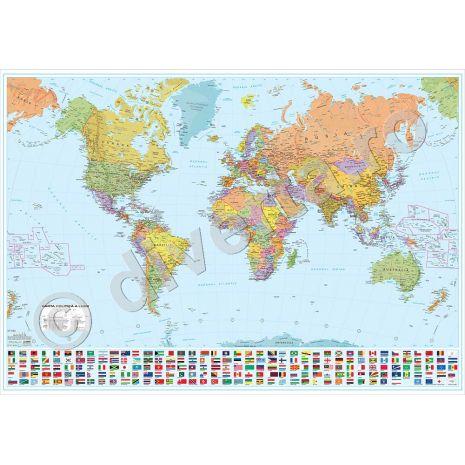 LUMEA, harta de perete politica, format 115 x 160 cm, scara 1:20000000, editie 2015, laminata - plastifiata (incapsulata), baghete
