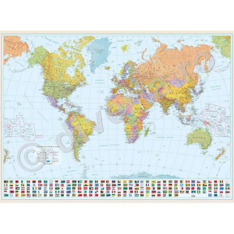 LUMEA, harta de perete politica si geografica, scara 1:42000000, format 70 x 100 cm, laminata - plastifiata (incapsulata), baghete, harta scolara, harta didactica.