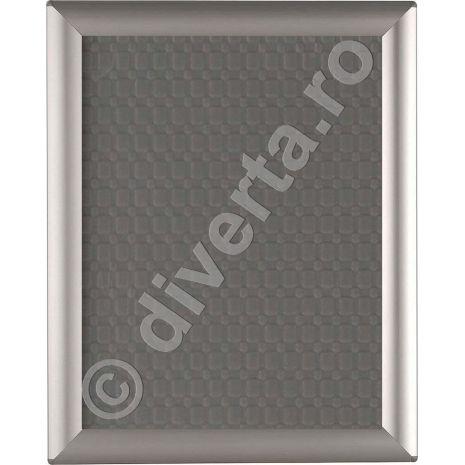 RAMA A4 25 MM SNAP/CLICK PENTRU TABLOURI, aluminiu eloxat, culoare argintiu (silver) mat, latime profil 25 mm, suprafata 210x297 mm-1