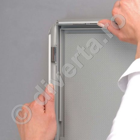 RAMA A3 CLICK / SNAP 25 MM PENTRU POSTERE, AFISE, TABLOURI, aluminiu eloxat, culoare argintiu (silver) mat, latime profil 25 mm, suprafata 297x420 mm-3