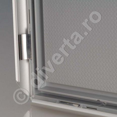 RAMA A4 25 MM SNAP/CLICK PENTRU TABLOURI, aluminiu eloxat, culoare argintiu (silver) mat, latime profil 25 mm, suprafata 210x297 mm-4
