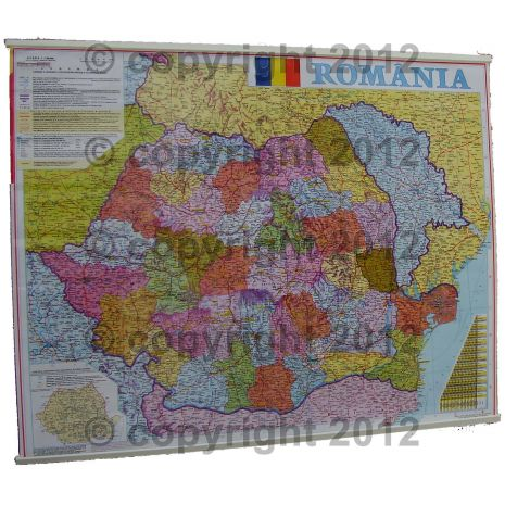 (RESIGILAT) ROMANIA, harta de perete administrativa si rutiera (vecini + Republica Moldova completa), scara 1:1000000, format 70 x 90 cm, editie 2005, laminata - plastifiata (incapsulata), baghete