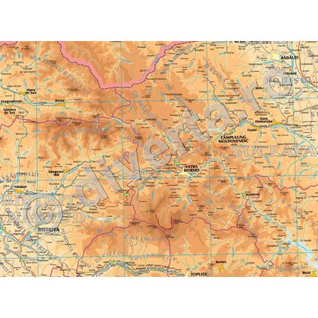 ROMANIA, harta de perete fizica-geografica si administrativa (delimitarea judetelor), format 175 x 250 cm, scara 1:297000, editie 2015, laminata - plastifiata (incapsulata), baghete; Selectie