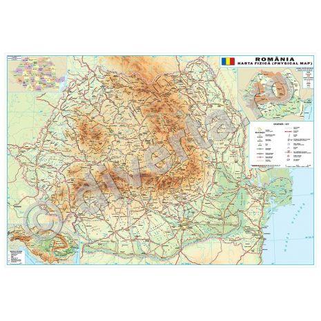 ROMANIA, harta de perete fizica-geografica, format 50 x 70 cm, scara 1:1250000, editie 2014, laminata - plastifiata (incapsulata), baghete
