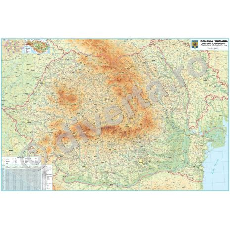 ROMANIA, harta de perete fizica-geografica si administrativa (delimitarea judetelor), scara 1:400000, format 140 x 200 cm, editie 2015, laminata - plastifiata (incapsulata), baghete