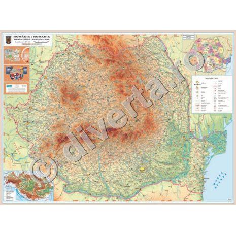 (RESIGILAT) ROMANIA, harta de perete fizica-geografica, scara 1:475000, format 120 x 160 cm, editie 2009, laminata - plastifiata (incapsulata), baghete