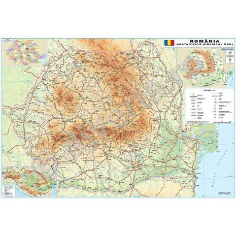 ROMANIA, harta de perete fizica-geografica, 100x140cm, scara 1:550.000,editie 2017, laminata, baghete, scolara, didactica