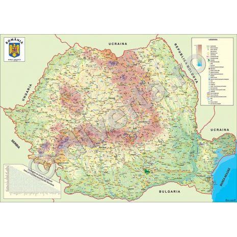 ROMANIA, harta de perete turistica, format 100 x 140 cm, editie 2014, laminata - plastifiata (incapsulata), baghete; harta turistica; informatii turistice; distante kilometrice; grila kilometrica