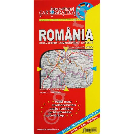 Romania, harta pliata rutiera, administrativa si turistica, scara 1:700000, format 89x120 cm, editie 2013-coperta1