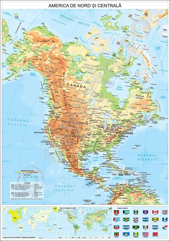 America De Nord Si Centrala Harta De Perete Fizica Geografica Si