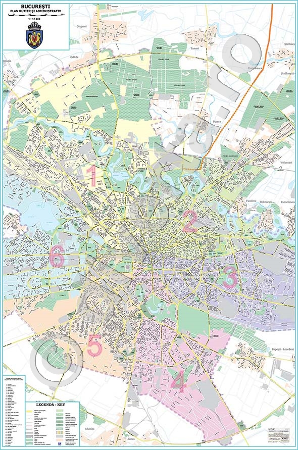 Bucuresti Harta Plan De Perete Rutiera Administrativa