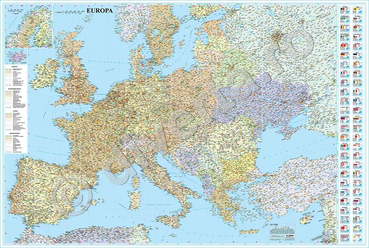 Europa Harta De Perete Politica Rutiera 110x160cm Scara 1