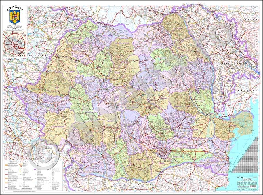 Romania Harta De Perete Administrativa Rutiera Turistica 120x160cm