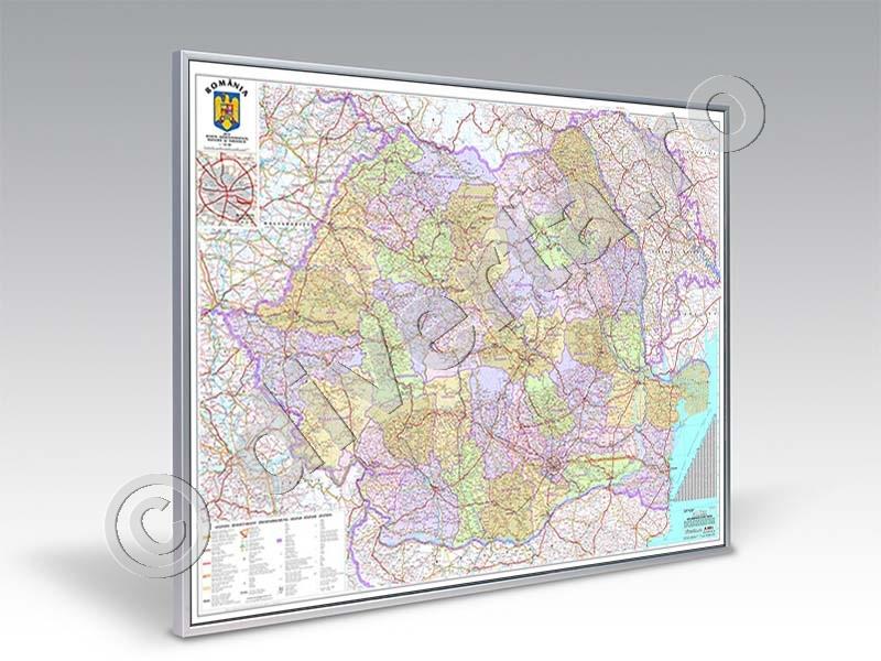 Romania Harta Magnetica 140x200cm Harta Inramata Rama Aluminiu