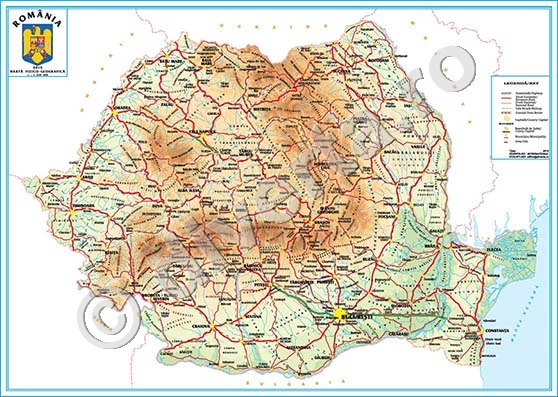 Harta Fizica Geografica A Romaniei Harta De Perete 35x50cm