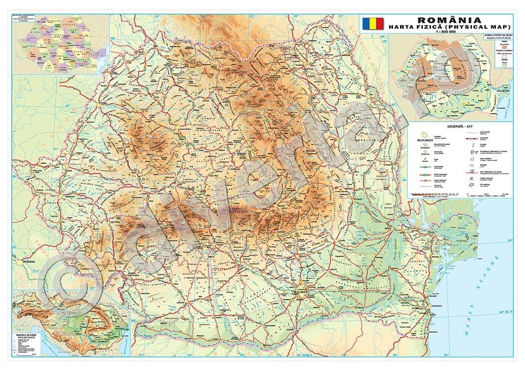 Romania Harta De Perete Fizica Geografica 80x120cm Laminata