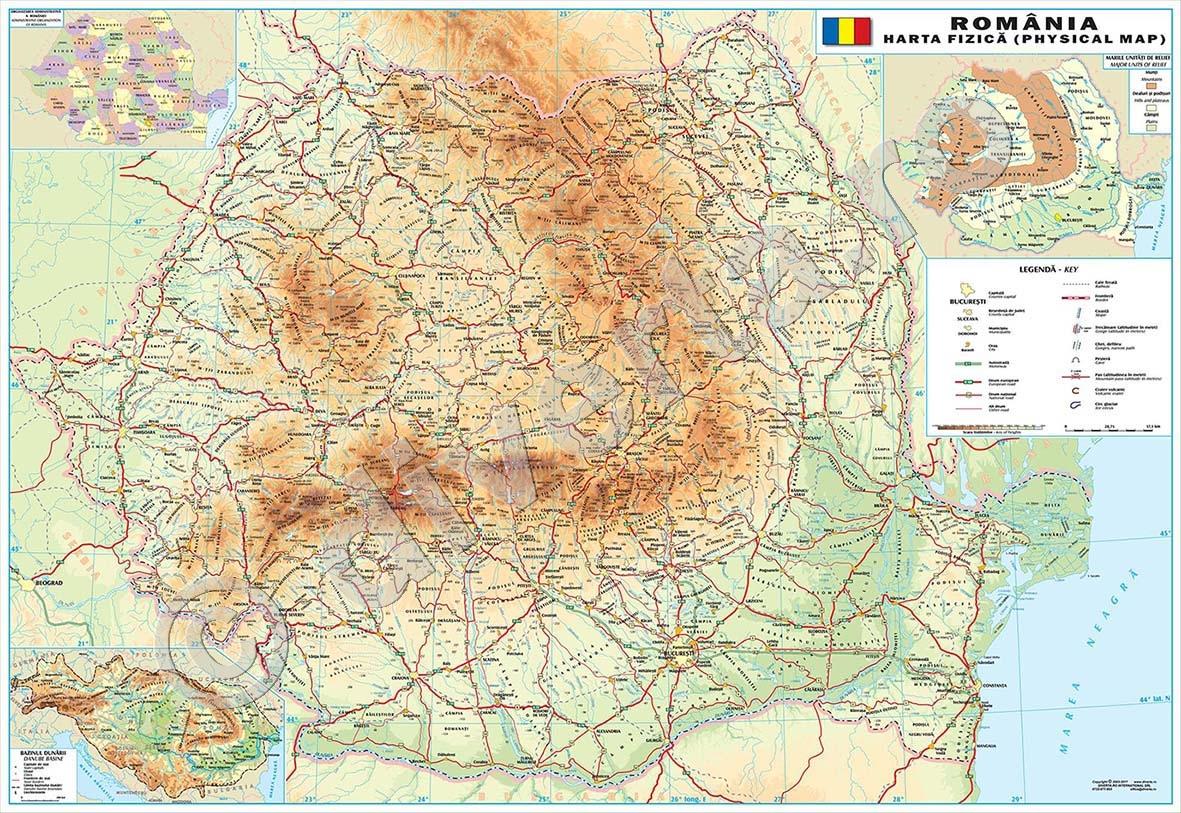 Romania Harta De Perete Fizica Geografica 140x200cm Laminata