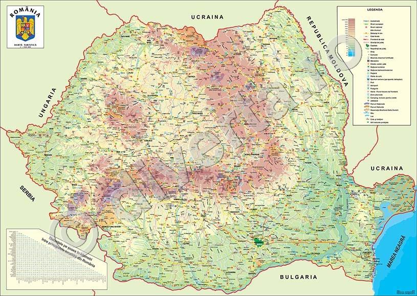 Romania Harta De Perete Turistica 115x160cm Laminata Baghete
