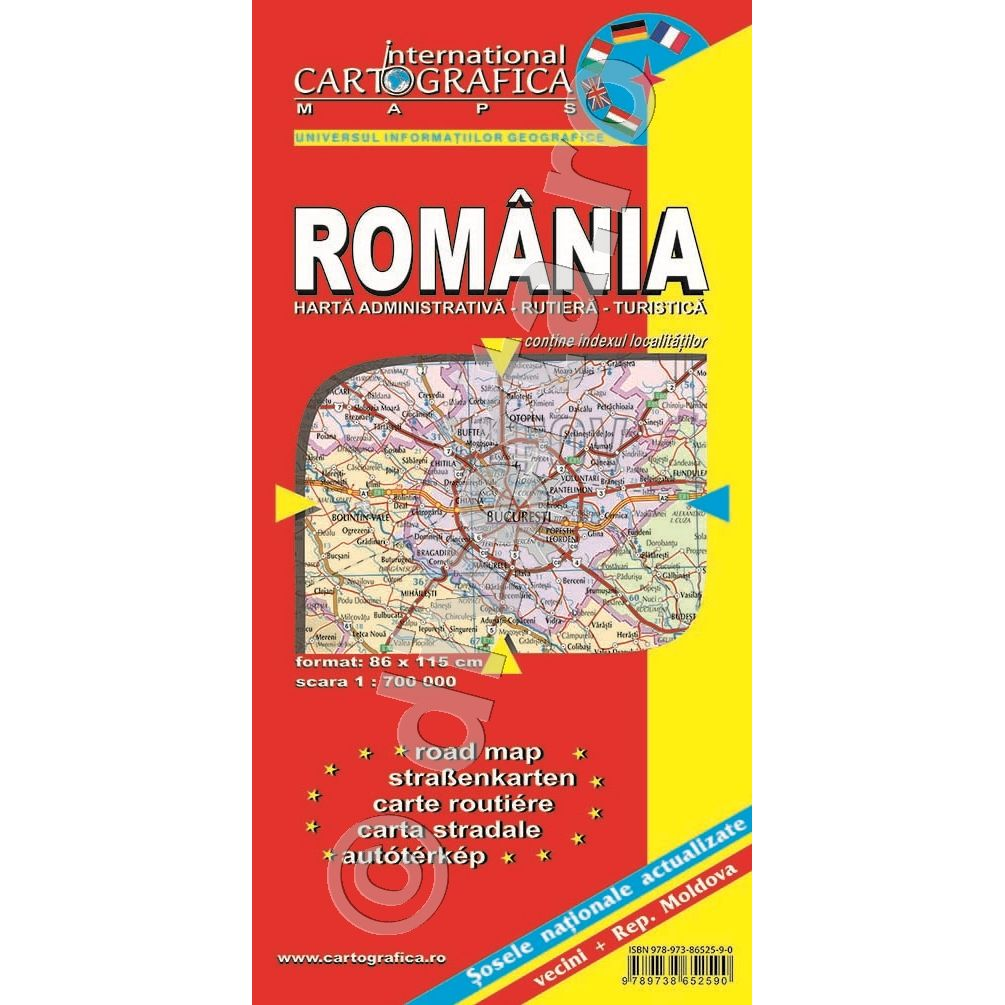 Romania Harta Pliata Administrativa Rutiera Turistica 86x115cm