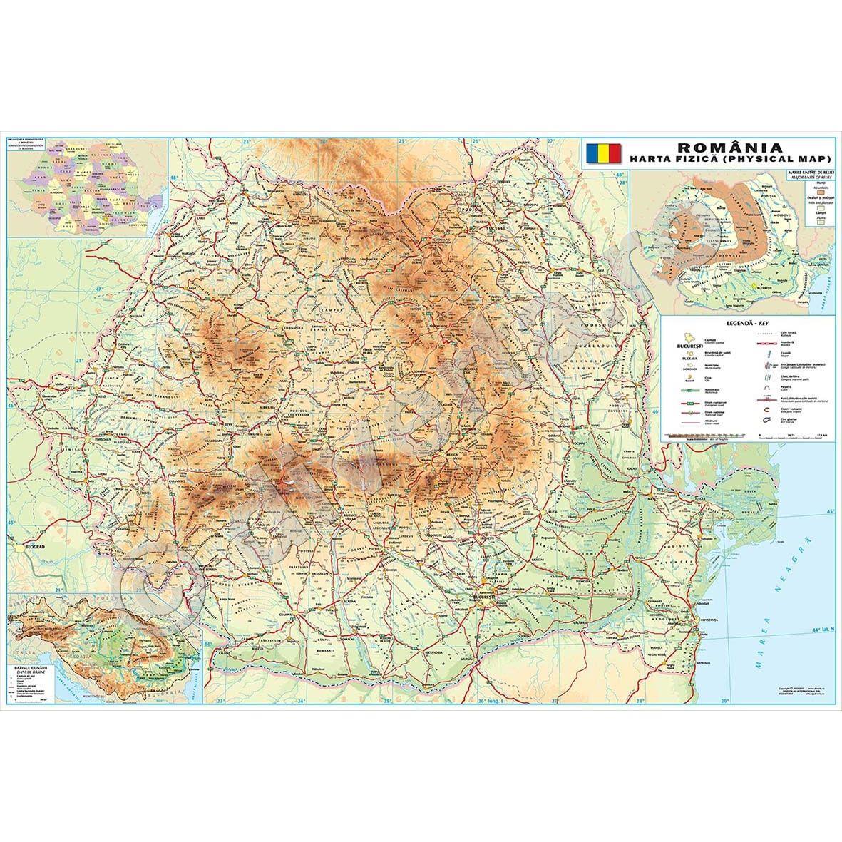 Romania Harta De Perete Fizica Geografica 100x140cm Scara 1