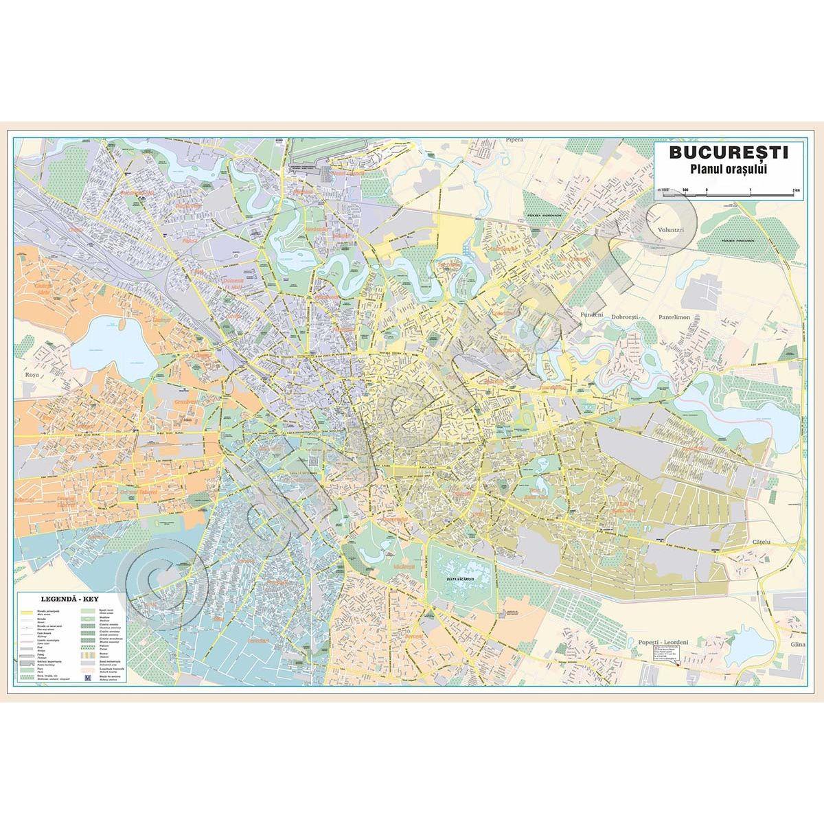 Bucuresti Zona Centrala Harta Plan De Perete Rutiera