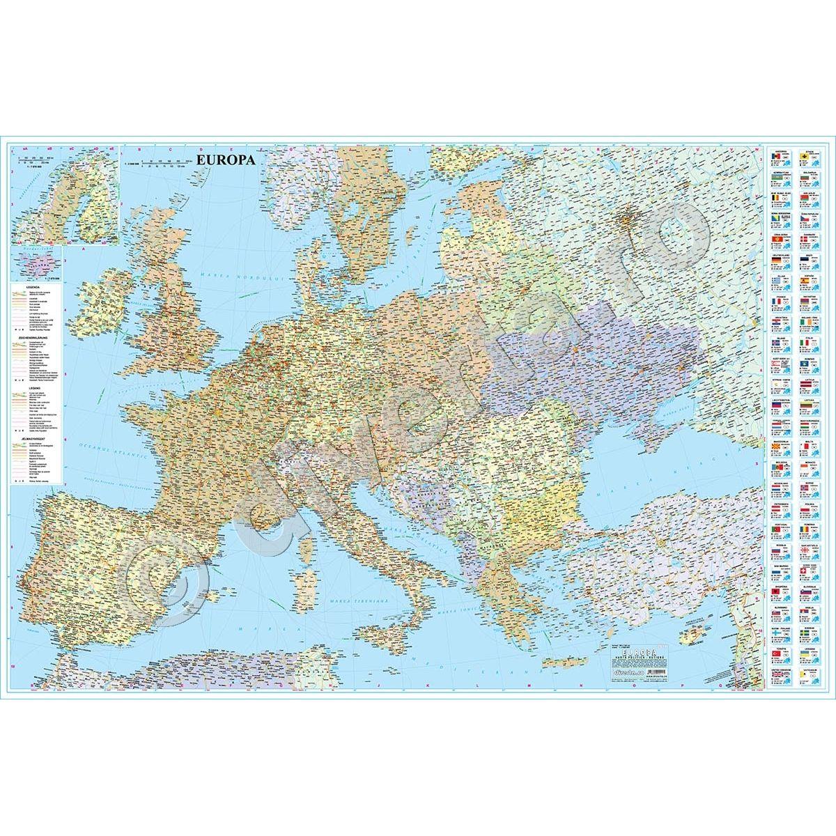 Europa Harta De Perete Politica Rutiera 175x250cm Scara 1