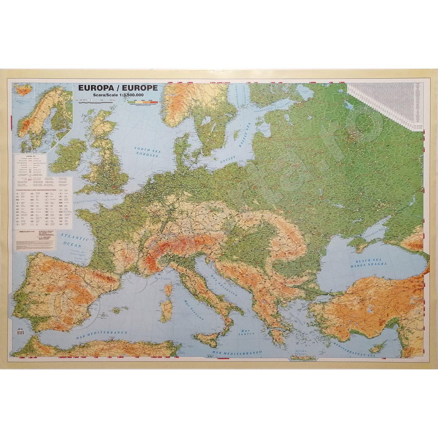 Europa Harta De Perete Politica 100x140cm Scara 1 3 500 000