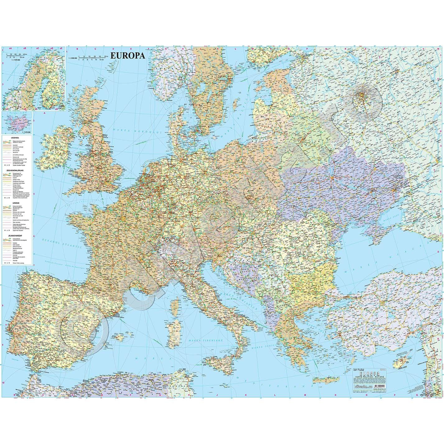 Europa Harta De Perete Politica Si Rutiera 100x125cm Scara 1 2 950
