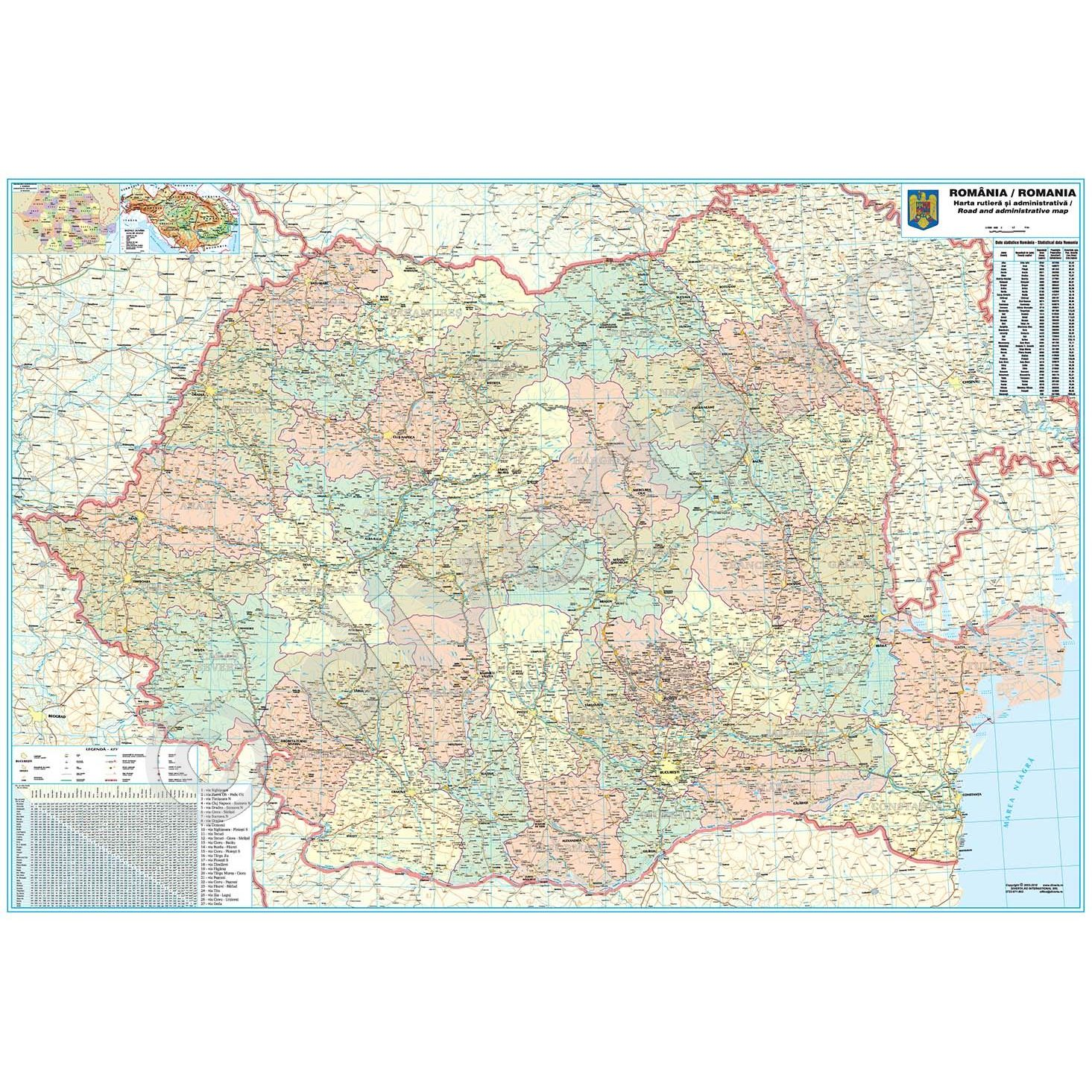 Romania Republica Moldova Harta De Perete Administrativa Si