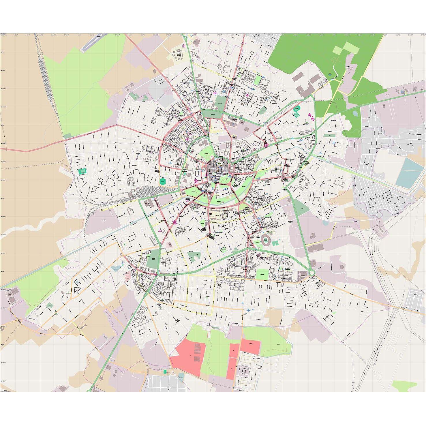 Timisoara Harta Plan De Perete Rutiera Administrativa