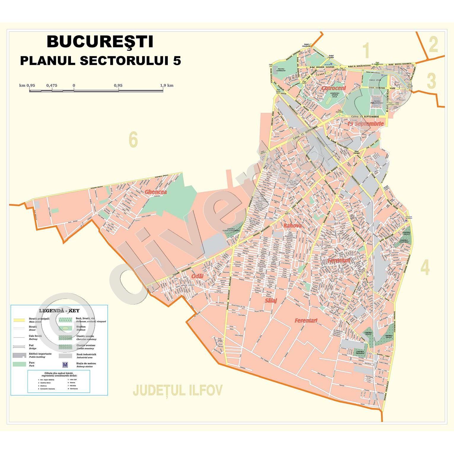 Sectorul 5 Bucuresti Harta Plan De Perete Rutiera