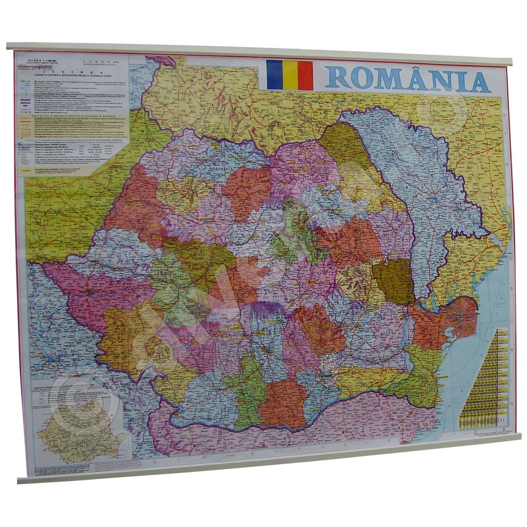 Harta Administrativa A Romaniei Harta De Perete 70x90cm Scara 1